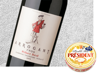 2013 Arrogant Frog Ribet Red Cabernet Merlot Wine with Président Double Brie Cheese