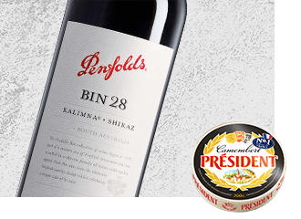 2009 Penfolds Kalimna Bin 28 Shiraz Wine with Président Camembert Cheese