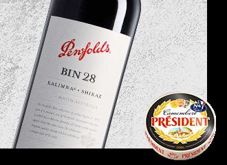 2009 Penfolds Kalimna Bin 28 Shiraz Wine with Président Camembert Cheese