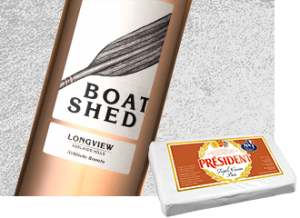 2014 Longview Boat Shed Nebbiolo Rosato Wine with Président Triple Cream Brie Cheese