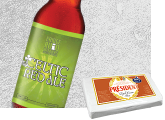Celtic Red Ale Beer with Président Triple Cream Brie Cheese