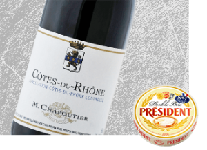 2013 M. Chapoutier Cote du Rhone Wine with Président Double Brie Cheese