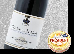 2013 M. Chapoutier Cote du Rhone Wine with Président Double Brie Cheese