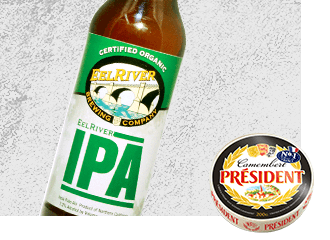 Eel River IPA Beer with Président Camembert Cheese