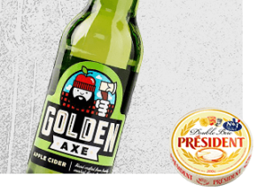 Golden Axe pairing Cider with Président Double Brie Cheese