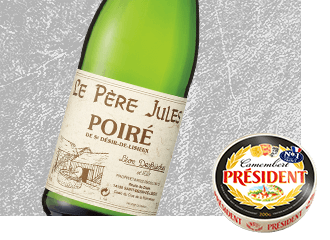 Le Pere Jules Sparkling Dry Cider with Président Camembert Cheese
