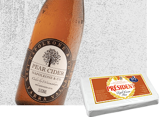 Napoleone Pear Cider with Président Triple Cream Brie Cheese