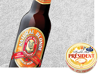 Grand Ridge Natural Blonde Beer with Président Double Brie Cheese