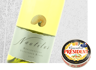 2013 Nautilus Sauvignon Blanc Wine with Président Camembert Cheese