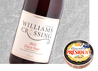 Williams Crossing 2013 Pinot Noir Wine with Président Camembert Cheese