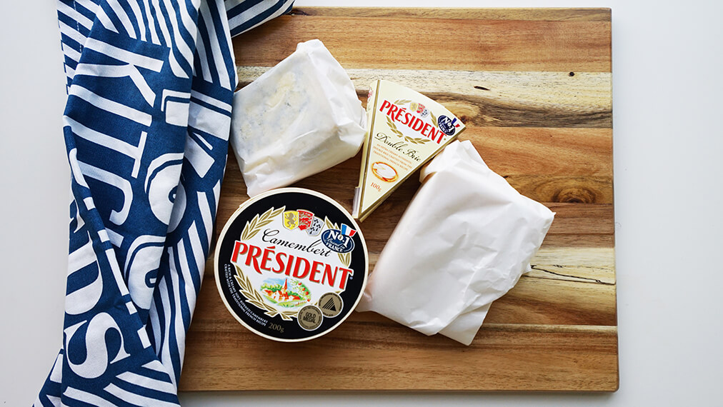 Combine different types, flavours of cheese - Président Camembert, Président Double Brie