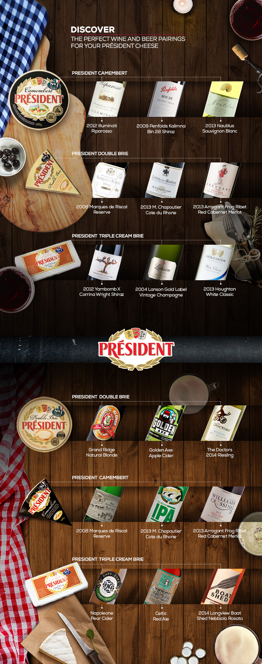 Perfect Wine and Beer pairings with Président Cheese types - Infographic