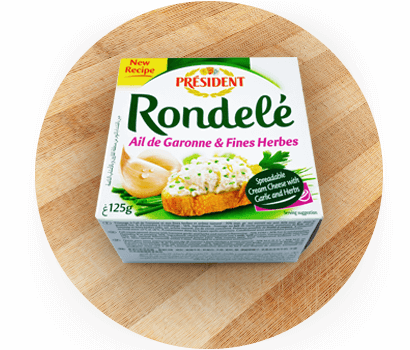 Président Rondelé with Garlic & Herbs spreadable cream cheese product in Australia